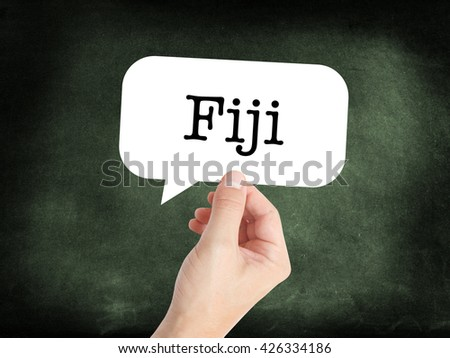Fiji written on a speechbubble