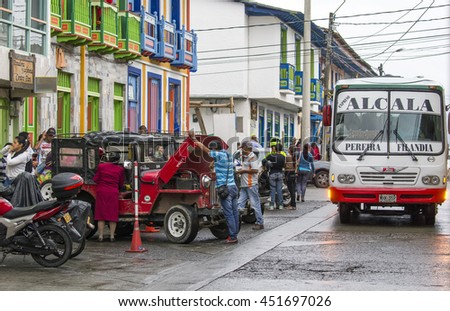 FILANDIA, COLOMBIA - OCTOBER 25, 2015: Street at dusk in Filandia, a town  in the northern part of the department of Quindi­o, Colombia.