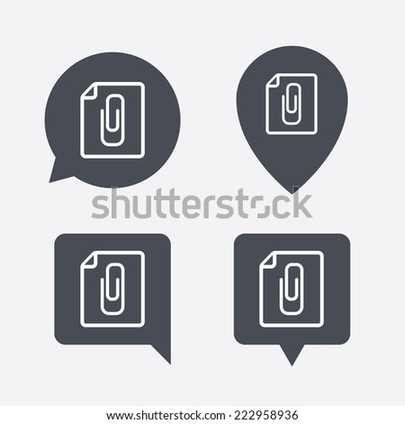 File annex icon. Paper clip symbol. Attach symbol. Map pointers information buttons. Speech bubbles with icons.