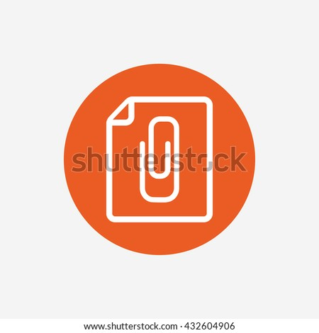 File annex icon. Paper clip symbol. Attach symbol. Orange circle button with icon.