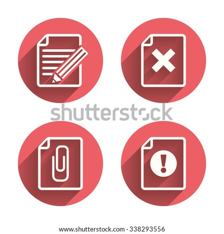 File attention icons. Document delete and pencil edit symbols. Paper clip attach sign. Pink circles flat buttons with shadow.  - stock photo