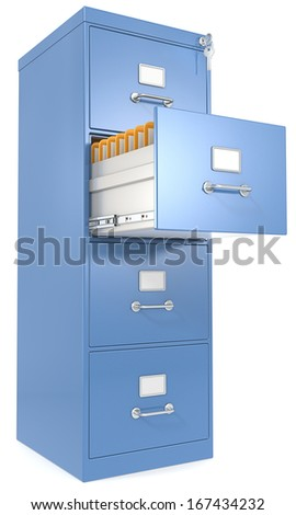File Cabinet. Blue File Cabinet. Open drawer with files. Lock and key. - stock photo