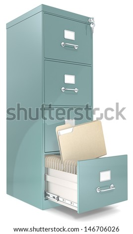 File Cabinet. Classic file cabinet with lock. One open drawer. Copy Space. - stock photo