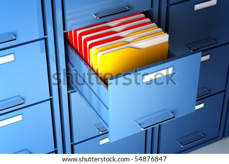 file cabinet 3d  and colorful  folder closeup image - stock photo