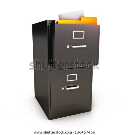 File Cabinet with files on a white background - stock photo