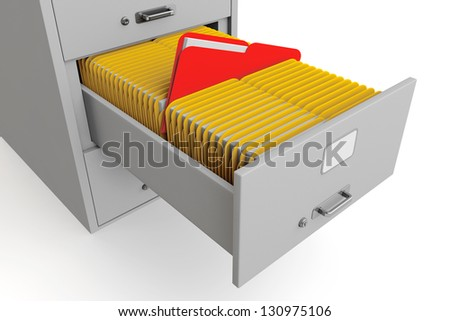 File cabinet with folders on a white background - stock photo