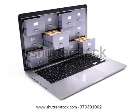 File Cabinets inside the screen of laptop isolated on white - stock photo