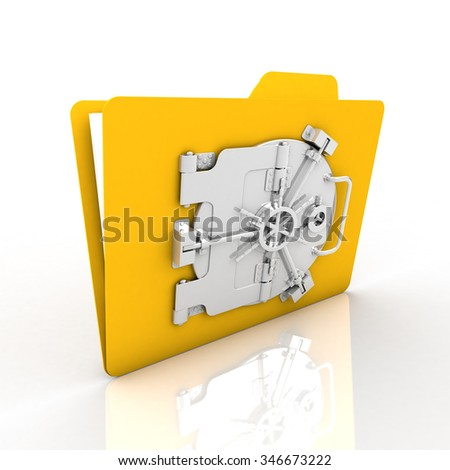 file encryption for security is very safe. We emphasize that yellow folder. - stock photo
