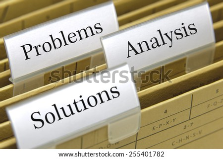 file folder for documents printed on it problems, analysis and solutions - stock photo