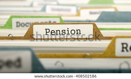 File Folder Labeled as Pension in Multicolor Archive. Closeup View. Blurred Image. 3D Render. - stock photo