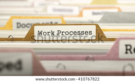 File Folder Labeled as Work Processes in Multicolor Archive. Closeup View. Blurred Image. 3D Render.