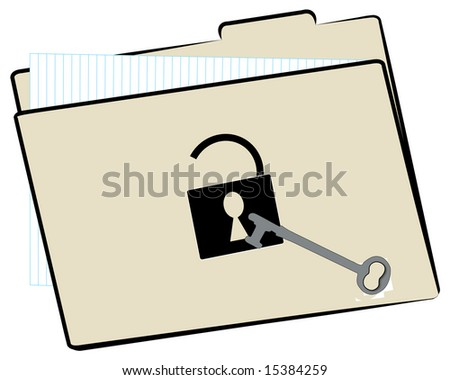 file folder unlocked with protective lock and key - stock photo