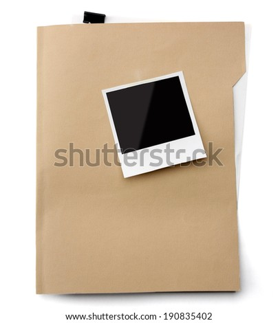 File folder with blank label for text - stock photo