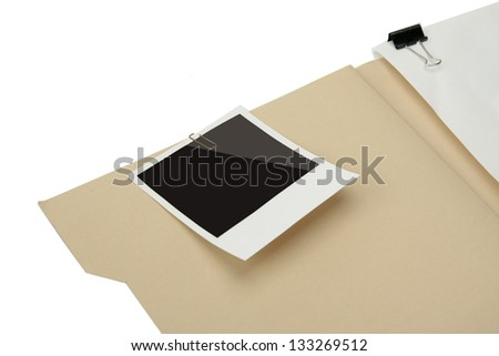 File folder with blank label isolated on white background