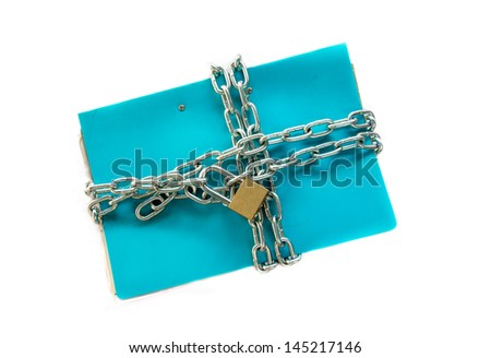 file folder with chain and padlock closed. privacy and data - stock photo