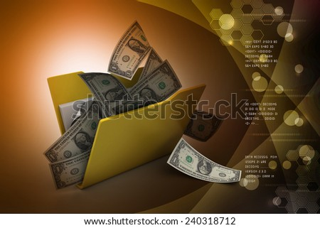 File folder with currency - stock photo