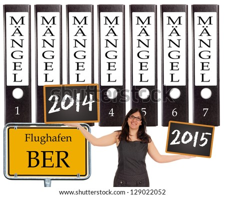 file folder with the german words construction defects - airport BER / airport BER - stock photo