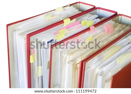 file folders, a little bit messy - stock photo