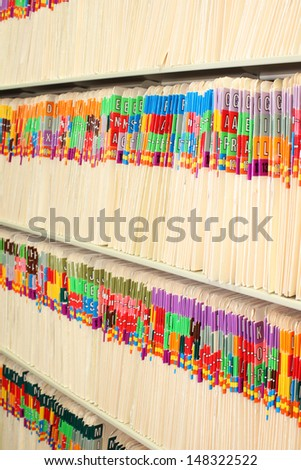File folders at a doctor's office - stock photo