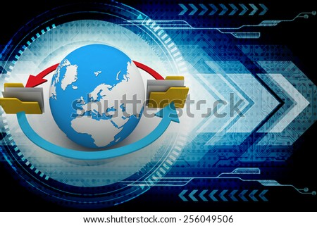 File folders connected to a globe - stock photo