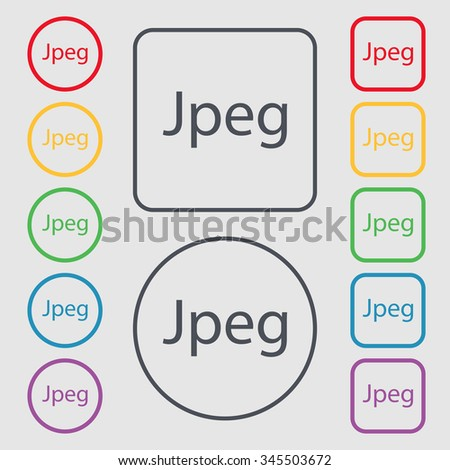 File JPG sign icon. Download image file symbol. Symbols on the Round and square buttons with frame. illustration - stock photo