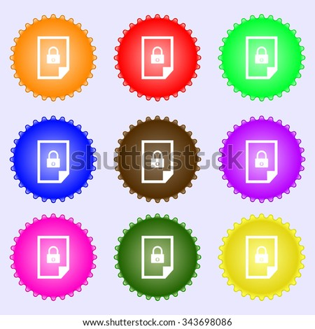 File locked icon sign. A set of nine different colored labels. illustration - stock photo