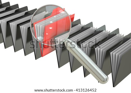 File search concept: folders and magnifying glass, 3D rendering - stock photo