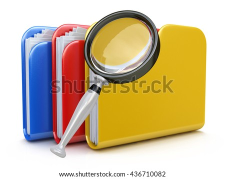 File search concept: folders and magnifying glass in the design of information related to computer technology. 3d illustration - stock photo