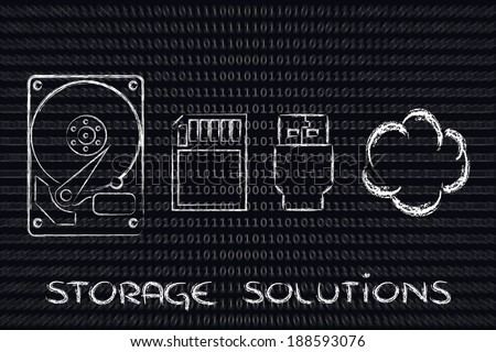 file storage solutions: hard disks, sd card, usb key or cloud storage - stock photo