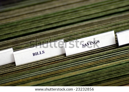 File tabs for bills and several blank file tabs