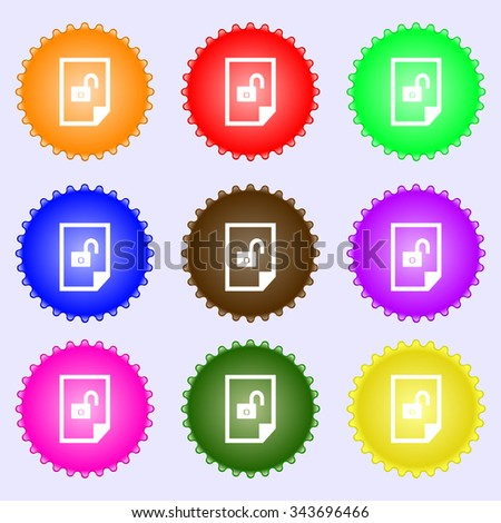 File unlocked icon sign. A set of nine different colored labels. illustration - stock photo