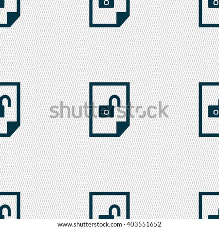 File unlocked icon sign. Seamless abstract background with geometric shapes. illustration - stock photo