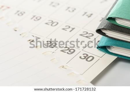 files and calendar. - stock photo