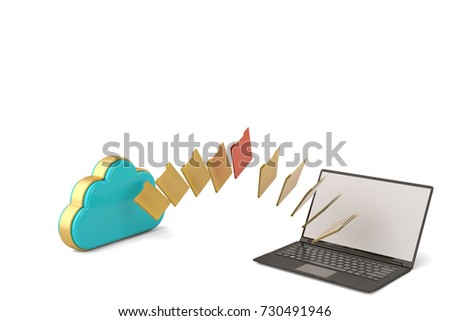 Files from cloud to laptop.3D illustration.