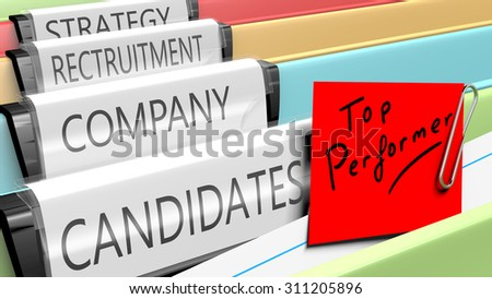 Files on top performer candidates for a company position. 3d render. - stock photo