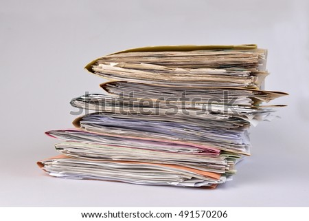 Files Stacked,colorful Paper Files on isolated background.