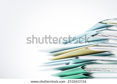 Files Stacked Paper Files on Desk. - stock photo