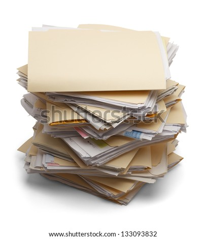 Files stacking up in a messy order isolated on white background. - stock photo