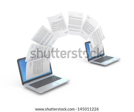 Files transferring between laptops. 3d illustration. - stock photo