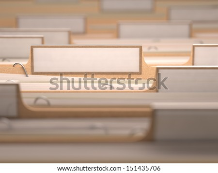 Files with white labels and focus on only one folder. - stock photo