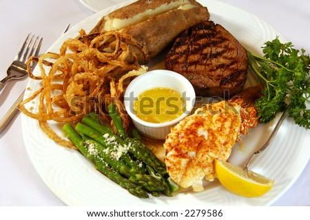 Filet Mignon and Lobster Tail - stock photo