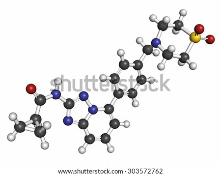 Filgotinib anti-inflammatory drug molecule. Janus kinase 1 inhibitor used in treatment of rheumatoid arthritis and Crohn's disease. Atoms are represented as spheres with conventional color coding. - stock photo