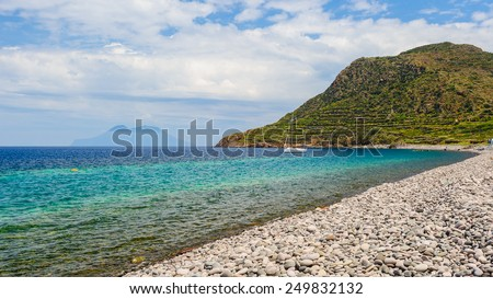 Filicudi beach on a sunny day, Aeolian islands, Sicily, Italy. - stock photo