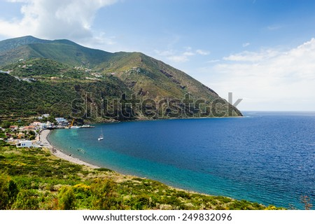 Filicudi island shoreline seen from trekking path, Aeolian Islands, Sicily, Italy. - stock photo