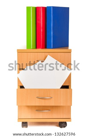 Filing cabinet and folders isolated over white background - stock photo