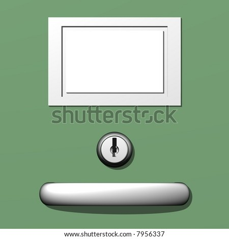 Filing cabinet closeup with blank label - stock photo