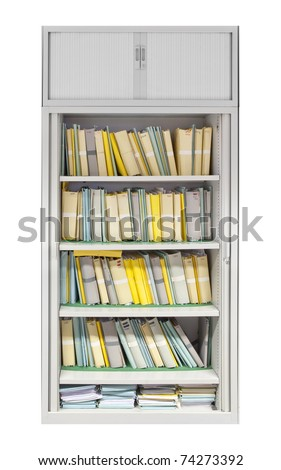filing cabinet filled with files isolated on white - stock photo