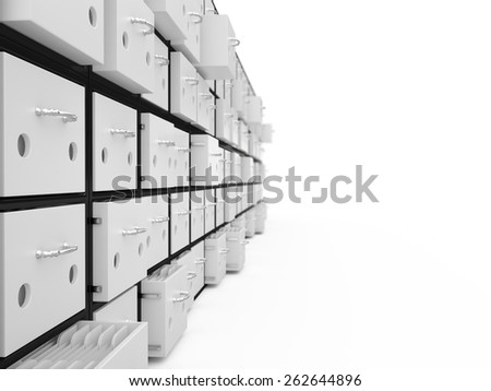 Filing cabinet isolated on white background, 3D - stock photo