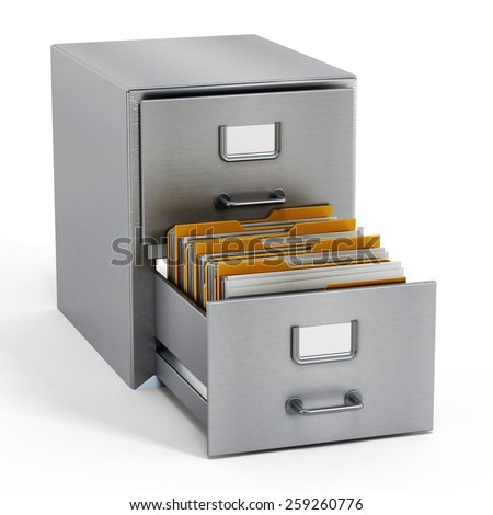 Filing cabinet with a single yellow folder in an open drawer - stock photo