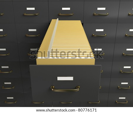 Filing cabinet with folders in drawer - stock photo